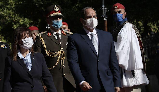 Συνάντηση του Προέδρου της Αραβικής Δημοκρατίας της Αιγύπτου Abdel Fattah Al Sisi με την Πρόεδρο της Δημοκρατίας Κατερίνα Σακελλαροπούλου, την Τετάρτη 11 Νοεμβρίου 2020.