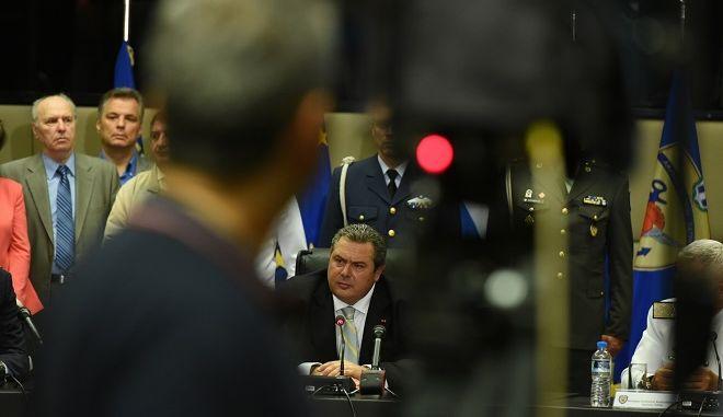 Τελετή παράδοσης-παραλαβής ανάμεσα στην απερχόμενη και στη νέα πολιτική ηγεσία του Υπουργείου Άμυνας την Τετάρτη 23 Σεπτμεβρίου 2015. (EUROKINISSI/ΥΕΘΑ)