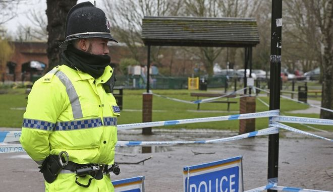 A police officer at a cordon near the Maltings in Salisbury