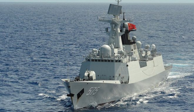 People's Republic of China, People's Liberation Army (Navy) frigate PLA(N) Yueyang (FF 575) steams in formation with 42 other ships and submarines representing 15 international partner nations during Rim of the Pacific (RIMPAC) Exercise 2014. Twenty-two nations, more than 40 ships and six submarines, more than 200 aircraft and 25,000 personnel are participating in RIMPAC exercise from June 26 to Aug. 1 in and around the Hawaiian Islands and Southern California. The world's largest international maritime exercise, RIMPAC provides a unique training opportunity that helps participants foster and sustain the cooperative relationships that are critical to ensuring the safety of sea lanes and security on the world's oceans. RIMPAC 2014 is the 24th exercise in the series that began in 1971. (U.S. Navy photo by Mass Communication Specialist 1st Class Shannon Renfroe/Released)