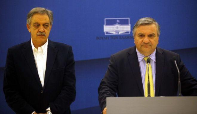Στιγμιότυπο από την συνέντευξη τύπου που παραχώρησε ο Υπουργός Εσωτερικών, Χάρης Καστανίδης, με θέμα την αποκομιδή των σκουπιδιών από τους δρόμους της Αθήνας. (EUROKINISSI // ΣΥΝΕΡΓΑΤΗΣ)