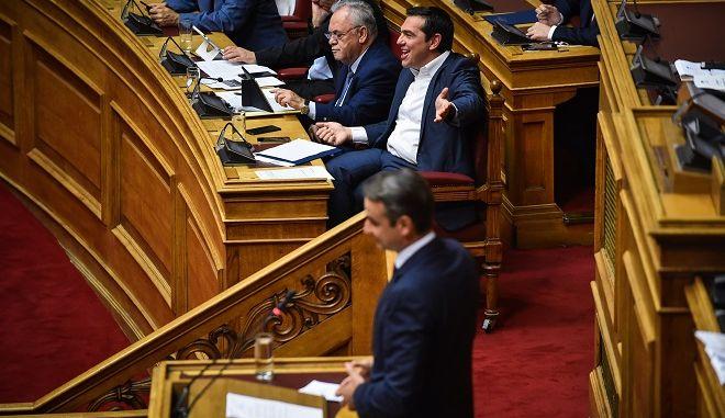 Ο Πρωθυπουργός Αλέξης Τσίπρας στην προ ημερησίας διατάξεως συζήτηση για την οικονομία, τις αποφάσεις του Eurogroup και τις δεσμεύσεις που ανέλαβε η κυβέρνηση, την Πέμπτη 5 Ιουλίου 2018.
