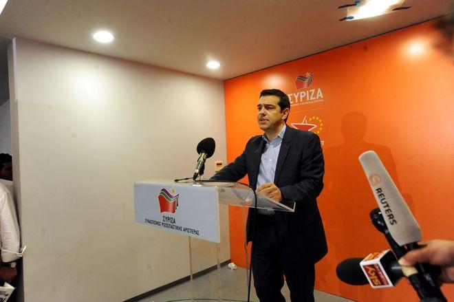 Ο πρόεδρος του ΣΥΡΙΖΑ Αλέξης Τσίπρας κάνει δηλώσεις για το εκλογικό αποτέλεσμα του β' γύρου των αυτοδιοικητικών εκλογών και των ευρωεκλογών την Κυριακή 25 Μαΐου 2014.