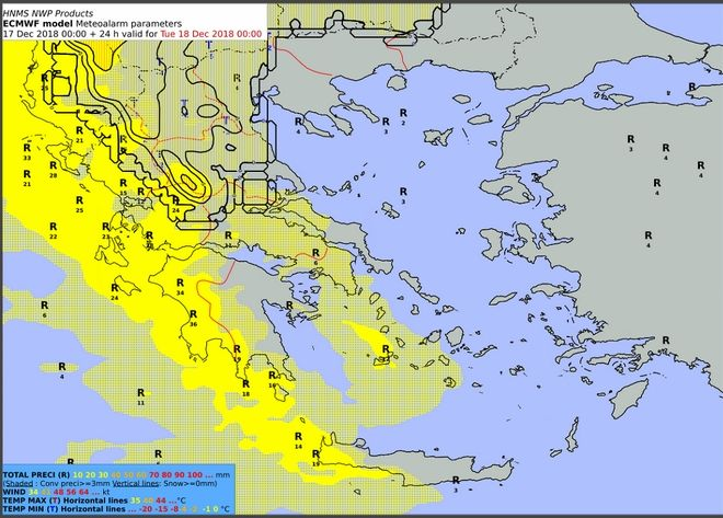 Προβλεπόμενα ύψη υετού από Δευτέρα 17/18:00 έως Τρίτη 18/00:00 UTC