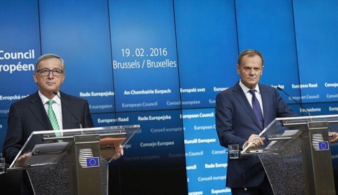 Στιγμιότυπο από την δεύτερη ημέρα της Συνόδου Κορυφής των ηγετών της Ευρωπαϊκής Ένωσης την Παρασκευή 19 Φεβρουαρίου 2016. (EUROKINISSI/ΕΥΡΩΠΑΪΚΗ ΕΝΩΣΗ)