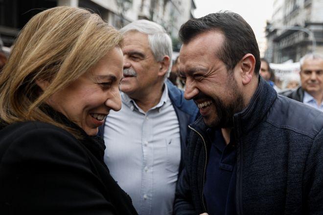 Ο Νίκος Παππάς, ο Νίκος Τόσκας και η Μαριλίζα Ξενογιαννακοπούλου στην προσυγκέντρωση για την επέτειο του Πολυτεχνείου: