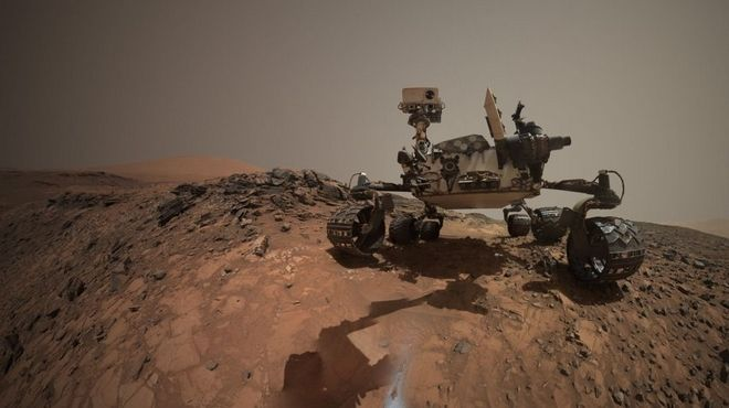 This low-angle self-portrait of NASA's Curiosity Mars rover shows the vehicle at the site from which it reached down to drill into a rock target called 'Buckskin' on lower Mount Sharp.  This low-angle self-portrait of NASA's Curiosity Mars rover shows the vehicle at the site from which it reached down to drill into a rock target called