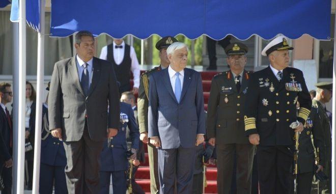 Τελετή ορκωμοσίας των νέων Αξιωματικών της Στρατιωτικής Σχολής Αξιωματικών Σωμάτων στη Θεσσαλονίκη, παρουσία της ΑΕ, Προέδρου της Ελληνικής Δημοκρατίας, κ. Προκόπη Παυλόπουλου. Στην τελετή παρέστησαν ο Υπουργός Εθνικής Άμυνας Πάνος Καμμένος
