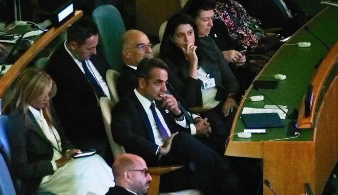 Στιγμιότυπο από την ομιλία του Πρωθυπουργού Κυριάκου Μητσοτάκη στην Γενική Συνέλευση του ΟΗΕ