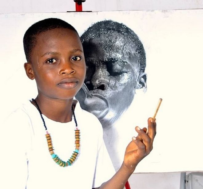 Πραγματικό ταλέντο: Αυτοδίδακτος 11χρονος Νιγηριανός αποτυπώνει τη ζωή στον καμβά