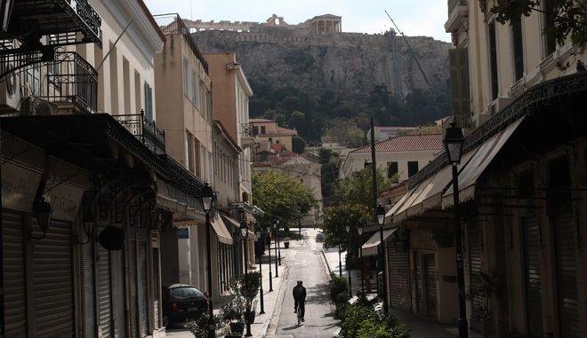 Στιγμιότυπα από το κέντρο της Αθήνας κατά το 2ο lockdown