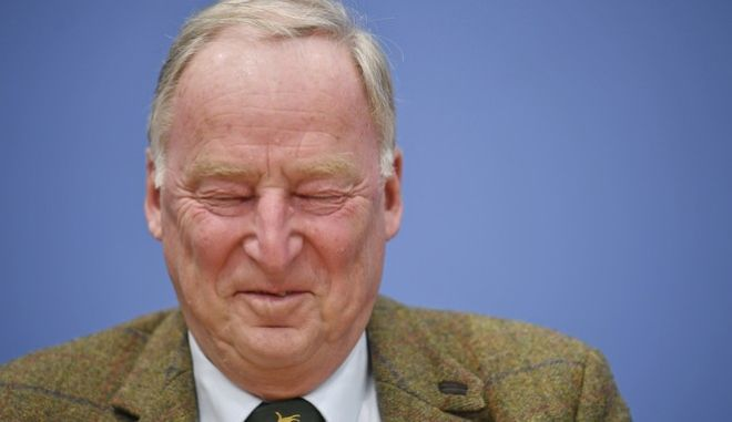 Nationalist Alternative for Germany Party, AfD, top candidate Alexander Gauland attends a party press conference in Berlin, Germany, Monday, Sept. 25, 2017 after Sunday's parliament elections. AfD won 94 seats in the new parliament.  (Julian Stratenschulte/dpa via AP)
