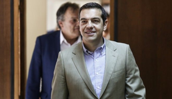 Greece's Prime Minister Alexis Tsipras visits the Ministry for Labour, in Athens, on July 17, 2017 /       ,  ,  17 , 2017