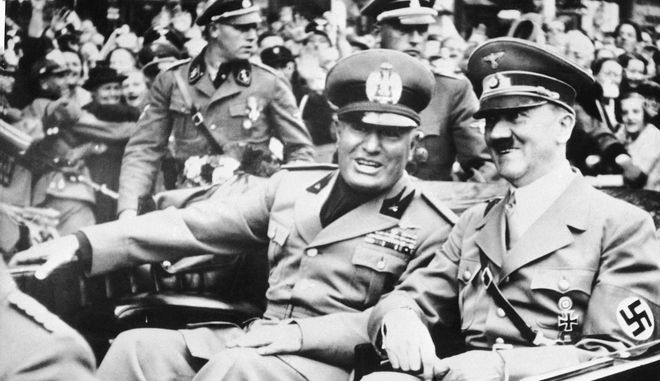 "FILE - File photo dated Sept. 28, 1938 showing Italian dictator Benito Mussolini, at left in foreground, and  Nazi leader Adolf Hitler, at right, taken just before the four power conference in Munich, Germany. As a gesture of friendship, Hitler met  Mussolini with his car at the Italo-German frontier. Benito Mussolini was a fierce anti-Semite, who proudly said that his hatred for Jews preceded Adolf Hitler's and vowed to ""destroy them all,"" according to previously unpublished diaries by the Fascist dictator's longtime mistress. According to the diaries, Mussolini also talked about the warm reception he got from Hitler at the 1938 Munich conference - he called the German leader a ""softie"" - and attacked Pope Pius XI for his criticism of Nazism and Fascism. The dairies kept by Claretta Petacci, Mussolini's mistress, between 1932 and 1938 are the subject of a book coming out the week beginning Monday Nov. 16, 2009,  in Italy, entitled ""Secret Mussolini."" Excerpts were published Monday by Italy's leading daily Corriere della Sera and confirmed by publisher Rizzoli. On a more intimate note, Mussolini was explicit about his sexual appetites for his mistress and said he regretted having affairs with several other women. (AP Photo/File)"