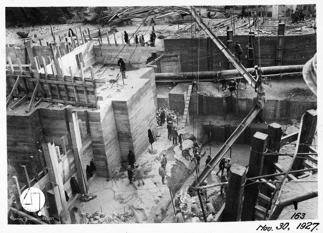 Στάδιο κατασκευής του Φράγματος Μαραθώνα, 1927