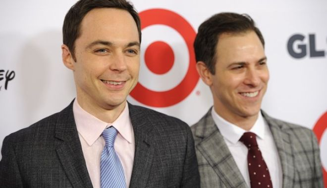 Jim Parsons, left, and Todd Spiewak arrive at the 10th Annual GLSEN Respect Awards at the Regent Beverly Wilshire on Friday, Oct. 17, 2014, in Beverly Hills, Calif. (Photo by Chris Pizzello/Invision/AP)