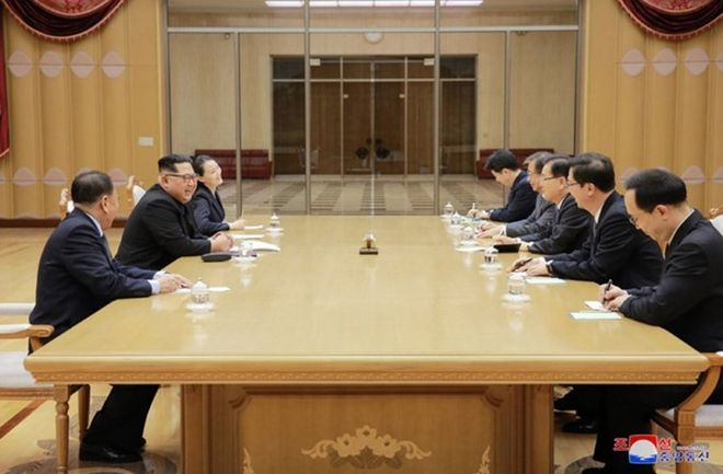 This image released on March 5, 2018, by the North Korean Official News Service (KCNA), shows North Korean leader Kim Jong Un meeting with South Korean officials in Pyongyang, North Korea. The South Korean officials are on a mission to broker denuclearization talks between the North and the United States. Photo by KCNA/UPIPHOTOGRAPH BY UPI / Barcroft Images