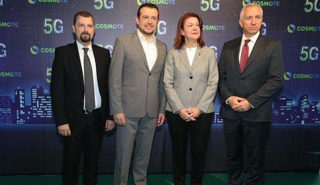 O ΓΓ Τηλεπικοινωνιών και Ταχυδρομείων, κ. Βασίλης Μαγκλάρας, ο Υπουργός Ψηφιακής Πολιτικής, Τηλεπικοινωνιών και Ενημέρωσης, κ. Νίκος Παππάς, η Δήμαρχος Ζωγράφου, κα Τίνα Καφατσάκη, ο Πρόεδρος & Διευθύνων Σύμβουλος Ομίλου ΟΤΕ, κ. Μιχάλης Τσαμάζ