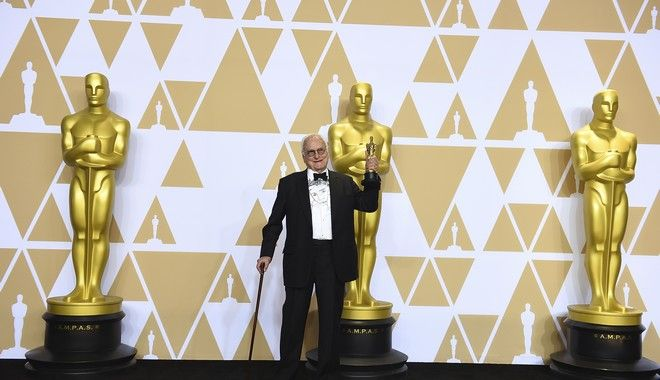"James Ivory, winner of the award for best adapted screenplay for ""Call Me by Your Name"", poses in the press room at the Oscars on Sunday, March 4, 2018, at the Dolby Theatre in Los Angeles. (Photo by Jordan Strauss/Invision/AP)"