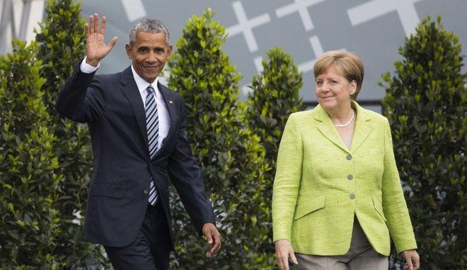 Ο Μπαράκ Ομπάμα μαζί με τη Γερμανίδα καγκελάριο