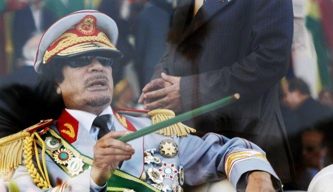 Ο Μουαμάρ Καντάφι σε εκδήλωση στην Τρίπολη τον Σεπτέμβριο του 2009
