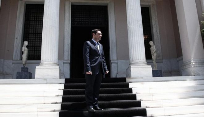 Greek Prime Minister, Alexis Tsipras, meets the laid off cleaning staff of the Finance Ministry in Maximos Mansion in Athens, Greece on May 7, 2015.