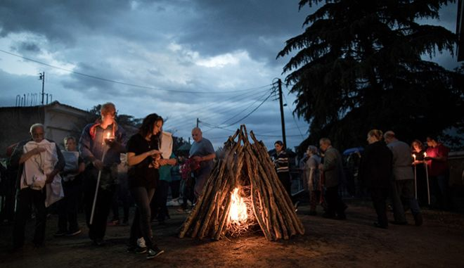 Anastenaria, a traditional fire-walking ritual held in the town of Lagkadas, 20km northeast of Thessaloniki, Greece on May 21, 2017. /      21  2017.