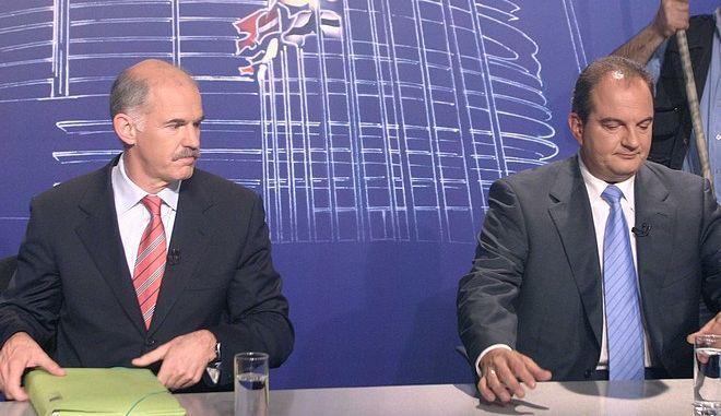 Γιώργος Παπανδρέου και Κώστας Καραμανλής σε τηλεμαχία πριν από τις Ευρωεκλογές του 2004