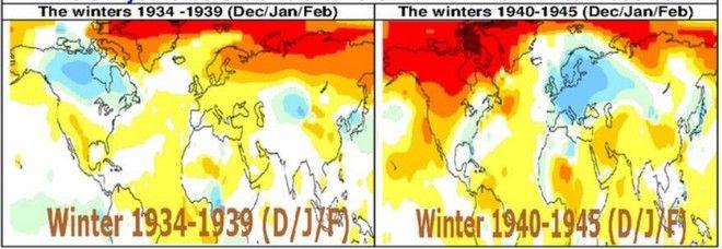Αποκλίσεις Θερμοκρασιών από τις κανονικές τιμές κατά την διάρκεια των χειμώνων 1934-39 και 1940-45