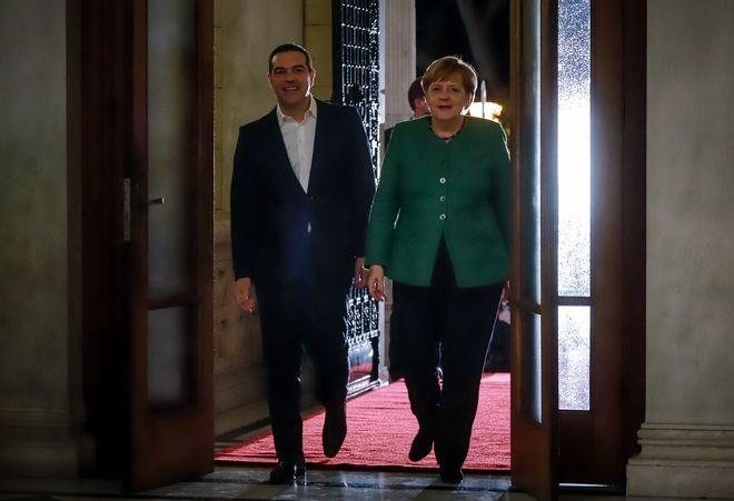 Συνάντηση του Πρωθυπουργού Αλέξη Τσίπρα με την Καγκελάριο της Γερμανίας Άνγκελα Μέρκελ στο Μέγαρο Μαξίμου