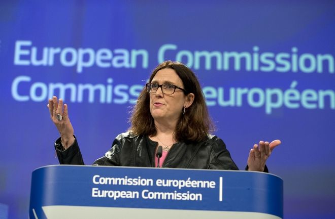 European Commissioner for Trade Cecilia Malmstroem speaks during a media conference at EU headquarters in Brussels on Wednesday, March 7, 2018. The European Union will set out its strategy Wednesday on how to counter potential U.S. punitive tariffs on steel and aluminum. (AP Photo/Virginia Mayo)