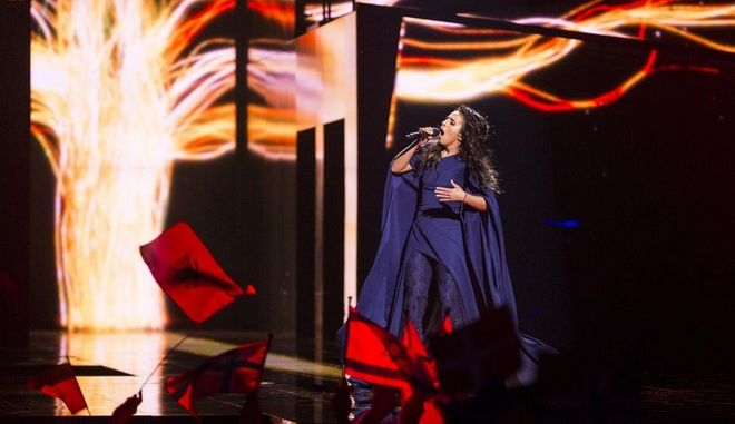 "STOCKHOLM, SWEDEN - MAY 12:  Jamala representing Ukraine performs the song ""1944"" during the semifinals of the 2016 Eurovision Song Contest at Ericsson Globe Arena on May 12, 2016 in Stockholm, Sweden. (Photo by Michael Campanella/Getty Images)"