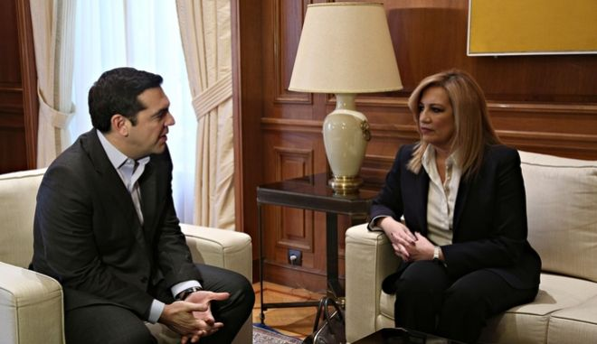 Meeting of Prime Minister Alexis Tsipras with the head of the Democratic Alignment Fofi Gennimata in the context of meetings with the political leaders ahead of the multilateral conference in Geneva on the Cyprus issue, in Athens, Greece on January 9, 2017. /                              . , 9  2017.