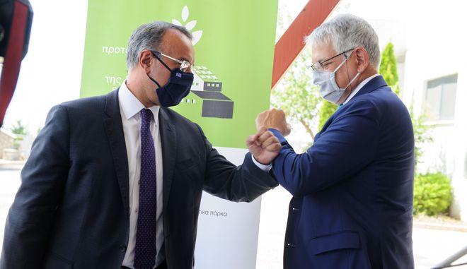 Ο υπουργός Οικονομικών κ. Χρήστος Σταϊκούρας και ο διευθύνων σύμβουλος της ΕΤΒΑ ΒΙ.ΠΕ. κ. Αθανάσιος Ψαθάς