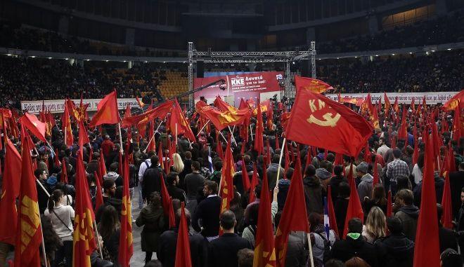Σημαίες σε συγκέντρωση του ΚΚΕ