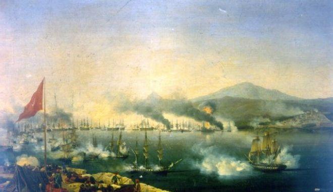 Η ναυμαχία του Ναυαρίνου (1827). Ελαιογραφία του Γκαρνερέ