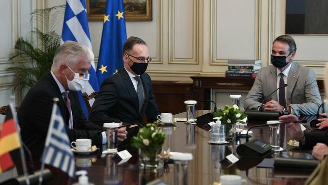 Συνάντηση του πρωθυπουργού Κυριάκου Μητσοτάκη με τον Υπουργό Εξωτερικών της Γερμανίας Χάικο Μάας