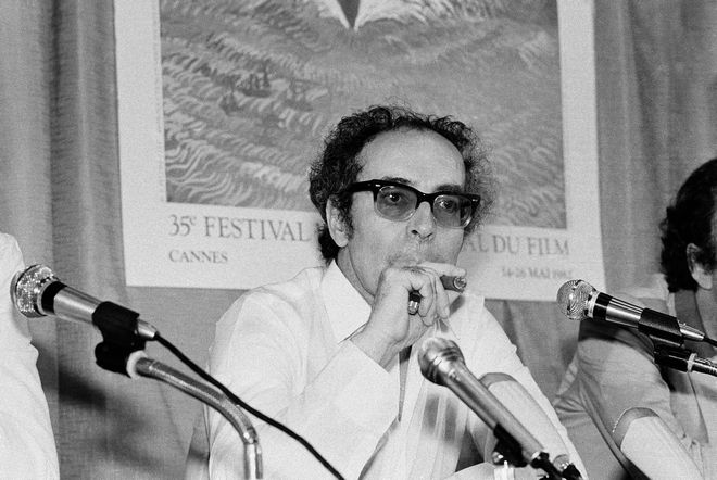 French director Jean-Luc Godard at Cannes festival, France on May 25, 1982. (AP Photo/Jean-Jacques Levy)