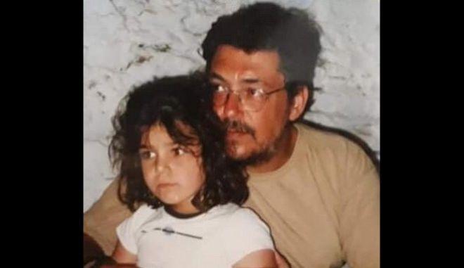 Ο Λαυρέντης Μαχαιρίτσας με την κόρη του.