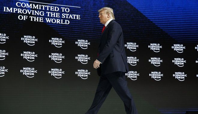 President Donald Trump arrives to deliver a speech to the World Economic Forum, Friday, Jan. 26, 2018, in Davos. (AP Photo/Evan Vucci)