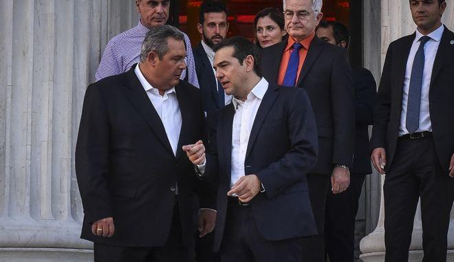 Αποχώρηση του πρωθυπουργού Αλ. Τσίπρα και του ΥΕΘΑ Π. Καμμένου από το Ζάππειο Μέγαρο