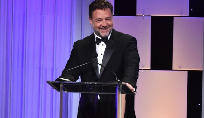 Host Russell Crowe speaks at the 30th annual American Cinematheque Award Honoring Ridley Scott at the Beverly Hilton Hotel on Friday, Oct. 14, 2016, in Beverly Hills, Calif. (Photo by Jordan Strauss/Invision/AP)