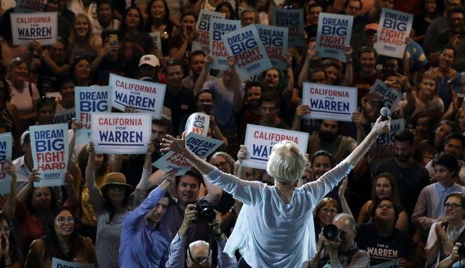 H υποψήφια των Δημοκρατικών, Elizabeth Warren