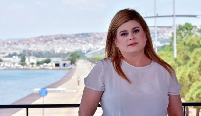Η υφυπουργός Εσωτερικών (Μακεδονίας - Θράκης), υποψήφια βουλευτής Α' Θεσσαλονίκης με τον ΣΥΡΙΖΑ-Προοδευτική Συμμαχία Ελευθερία Χατζηγεωργίου