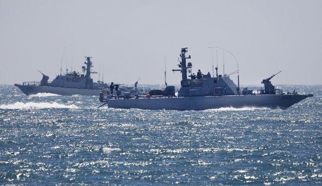Ισραηλινά πολεμικά πλοία στη Μεσόγειο τον Ιούνιο του 2015
