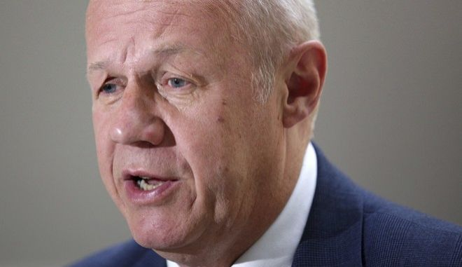 """FILE - An Aug. 10, 2017 file photo of First Secretary of State, Damian Green, speaking in London. Damian Green has been asked to resign from the Government by Prime Minister, Theresa May, Wednesday, Dec. 20, 2017, and admitted he made """"misleading"""" statements about allegations pornography was found on his Commons computer in 2008. (David Cheskin/PA via AP, File)"""