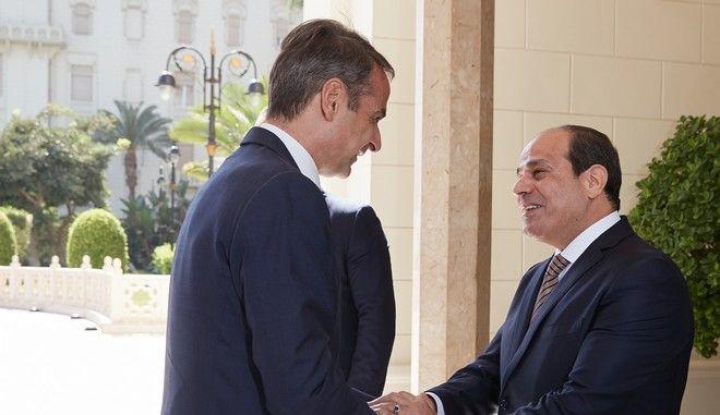 Ο Κυριάκος Μητσοτάκης με τον πρόεδρο της Αιγύπτου Αμντέλ Φατάχ αλ Σίσι