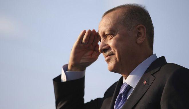 Ο Τούρκος πρόεδρος Ρετζέπ Ταγίπ Ερντογάν σε εκδήλωση στην Καισάρεια