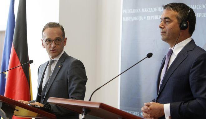 Συνάντηση του Γερμανού υπουργού Εξωτερικών Χάικο Μάας με τον ομόλογό του της πΓΔΜ, Νίκολα Ντιμιτρόφ στα Σκόπια