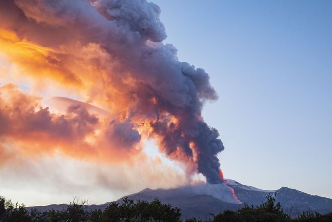 Smoke emerges from Mount Etna